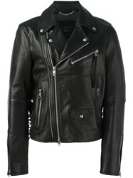 Diesel Black Gold Leather Biker Jacket Black
