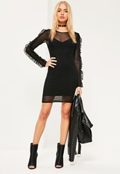 Missguided Black Two Layer Mesh Frill Arm Bodycon Dress