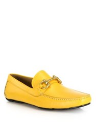 Salvatore Ferragamo Parigi Leather Drivers Yellow