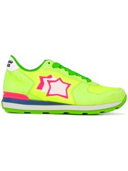 Atlantic Stars Vega Neon Sneakers Women Leather Suede Polyester 37 Yellow Orange