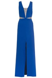 Quiz Blue Embellished Split Maxi Dress Blue