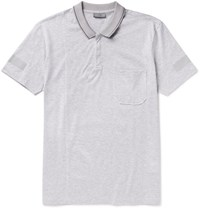 Lanvin Slim Fit Metallic Trimmed Cotton Pique Polo Shirt Gray