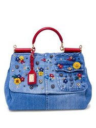 Dolce And Gabbana Large Sicily Floral Embellished Denim Top Handle Satchel