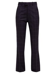 Martine Rose High Rise Checked Wool Trousers Navy