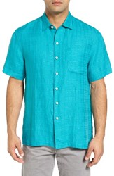 Tommy Bahama Men's Big And Tall The Big Bossa Linen Sport Shirt Lagoon Water