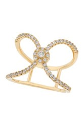 18K Yellow Gold Plated Sterling Silver Cz X Ring