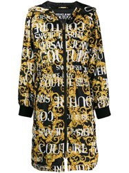 Versace Jeans Couture Baroque Print Hooded Coat Black