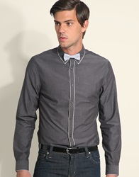 Asos Tipped Shirt With Contrast Bow Tie Grey