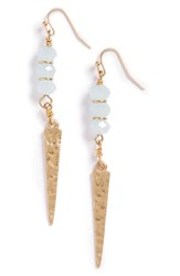 Women's Canvas Jewelry Glass Bead Spear Earrings Light Pastel Blue