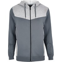 River Island Mensgrey Color Block Zip Hoodie