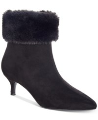 Impo Esra Faux Fur Cuff Pointed Toe Booties Women's Shoes Black