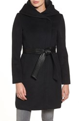 Cole Haan Signature Women's Belted Asymmetrical Wool Coat Black