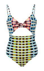 Mara Hoffman Gingham Cutout One Piece Multi