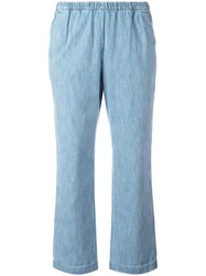 Masscob Elasticated Waistband Cropped Trousers Blue