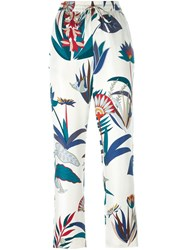 Tory Burch Floral Print Trousers White