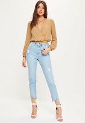 Missguided Nude Cross Front Crop Blouse