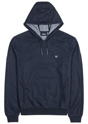 Armani Jeans Navy Hooded Stretch Denim Sweatshirt