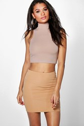 Boohoo Ribbed Panel Mini Skirt Camel