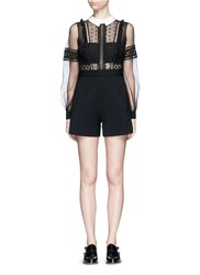 Self Portrait Tulle Balloon Sleeve Guipure Lace Crepe Playsuit Black