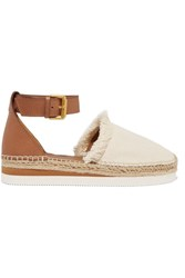 See By Chloe Fringed Canvas And Leather Espadrilles Tan