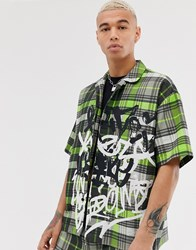 Jaded London Co Ord Revere Collar Shirt In Neon Green Check With Graffiti