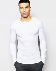 Farah Crew Neck Long Sleeve Top In Muscle Fit White