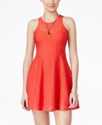 Material Girl Juniors' Textured Mesh Skater Dress Only At Macy's Hibiscus
