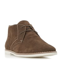 Bertie Chives Printed Suede Chukka Boots Dark Brown