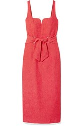 Rebecca Vallance Francesca Belted Textured Crepe Midi Dress Coral