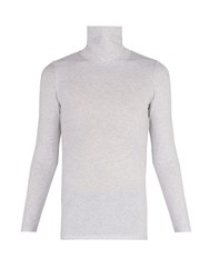 Vetements Inside Out Stretch Cotton Roll Neck Top Grey
