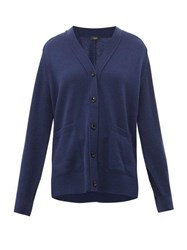 Joseph Patch Pocket Cashmere Cardigan Dark Blue