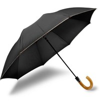 Paul Smith Stripe Trimmed Wood Handle Collapsible Umbrella Black
