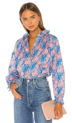 Cynthia Rowley Floral Waterfall Top In Blue. Blue Floral