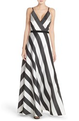 Phoebe Couture Women's Phoebe Stripe Taffeta V Neck Gown