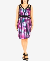 City Chic Plus Size Printed Cutout Bodycon Dress Cerise
