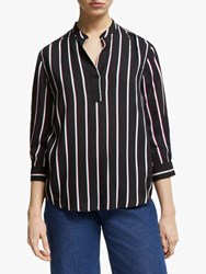 3 4 Sleeve Stripe Shirt Black