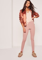 Missguided Ribbed Bandage Leggings Pink