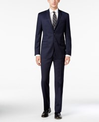 Dkny Men's Slim Fit Navy Tonal Check Suit