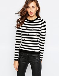 Lipsy Stripe Jumper With Embellishment Black