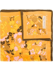 Christian Dior Vintage Printed Scarf Yellow And Orange