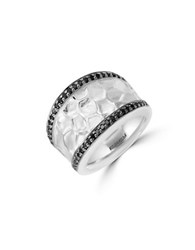Effy Final Call Black Diamond And Sterling Silver Hammered Ring