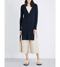 See By Chloe Side Split Wool Cardigan Indigo