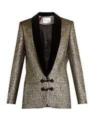 Racil Draco Velvet Lapel Metallic Brocade Jacket Gold