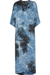 Enza Costa Tie Dyed Satin Maxi Dress Blue