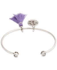 Lonna And Lilly Silver Tone Tassel And Bird Charm Cuff Bracelet
