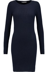 Autumn Cashmere Ribbed Mini Dress Navy