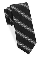 Saks Fifth Avenue Stripe Silk Tie Black