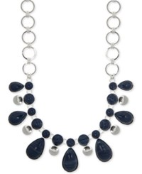 Nine West Silver Tone Stone Statement Necklace 16 2 Extender Blue