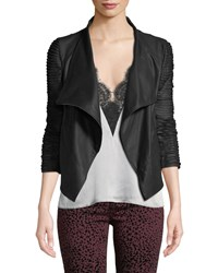 Lamarque Brenda Textured Sleeve Asymmetric Leather Jacket Black