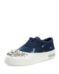 Miu Miu Denim And Crystal Low Top Sneaker Blue